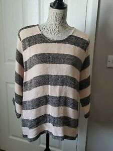 THE MASAI CLOTHING COMPANY LADIES 3/4 SLEEVED  STRIPE KNIT  TOP SIZE XL