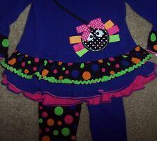 NWT Bonnie Jean Purple HAPPY SPIDER Halloween Dress Top/Leggings Lot 12M DOTS
