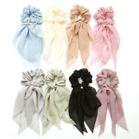 Double Layer Chiffon Bow Long Ribbon Scrunchie Hair Scarf Rubber Band Hair Tie @