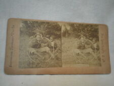 Vintage Color Stereo View Stereoscopic View Card Black Americana  Make a Bicycle