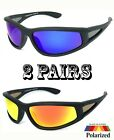 Matte Black Polarized Sunglasses Floating Sport Wrap Biker Motor-cycle Fishing