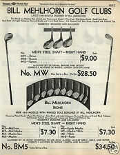 1935 PAPER AD Bill Mehlhorn Golf Clubs Wood Irons Steel Shaft Leather Grips