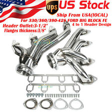 FOR 330/360/390-428 FORD BIG BLOCK FE Shorty Performance Header Exhaust Manifold