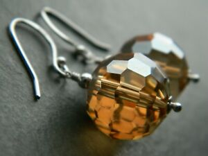 Large Golden AB Faceted Glass Crystal Beads & 925 Sterling Silver Drop Earrings