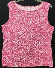 a85a764125cc7 Lands  End Sz XL 18 Boat Neck Floral Print Pink White Knit Cotton Rayon Tank