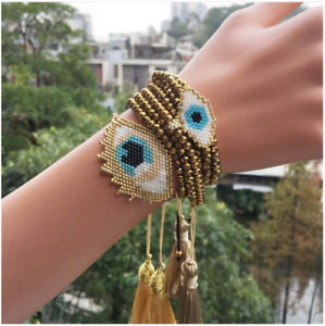 MIYUKI Bracelet Gold Evil Eye Bracelet Pulsera Crystal Jewelry Women Tassel
