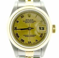 Rolex Datejust Lady 18K Yellow Gold & Steel Watch Jubilee Band Roman Dial 79163