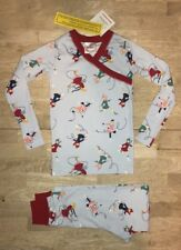 Hanna Andersson Girls 110 5 Pajamas PJs Blue  Red Figure Ice Skating LS NWT