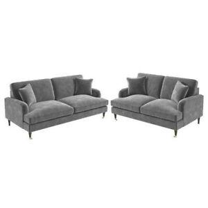 Sofa Set with 3 Seater & 2 Seater in Grey Velvet - Payton