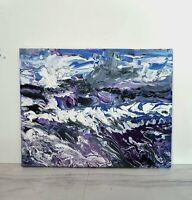 Original ABSTRACT Painting in Blue and Purple/Impasto Painting Blue