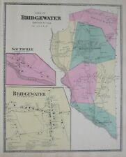 Original 1867 Antique Map BRIDGEWATER Southville Litchfield County Connecticut