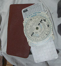 Vintage Comercial Civilian E-6B Flight Computer With Leather Case