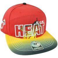 NBA '47 Brand HWC Miami Heat Logo Glowdown 5 Panel Snapback Flat Bill Hat Cap