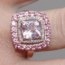 ROSE GOLD 14K CUSHION CUT MORGANITE SAPPHIRE & DIAMOND TRIPLE FRAME RING