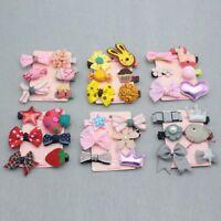 6PCS Kids Girls Hairpins Barrettes Baby Fabric Bow Flower Headwear Hair Clips