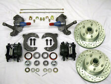 """Mustang II Front Disc Brake Kit 11"""" Rotors Chevy w/ 2"""" Drop Spindles SS Lines"""