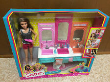 Barbie Sisters Stacie Chelsea Skipper Triple Sink Bathroom Beauty Mirror Vanity