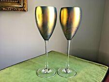 1989 Steve Maslach Pair (2) Blue Cobalt Iridescent Studio Glass Wine Glasses