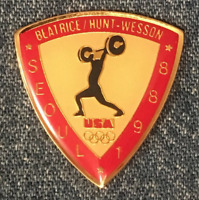Weightlifting Olympic Pin~Sponsor~Beatrice~Hunt~Wesson~1988 Seoul, Korea