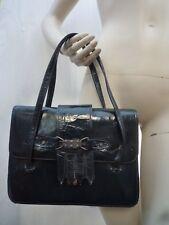 sac en cuir vert anglais franges