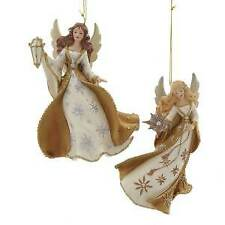 Set of 2 Metallic Gold Angel Ornaments w