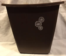 Mid Century Small Brown Rubbermaid Waste Basket Trash Can Daisy Flowers Vtg