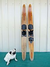 """Vintage Grand Master Tunnel Concave Cut'n Jump Wood Wooden Water Skis Slalom 66"""""""