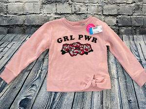 THE CHILDRENS PLACE XS 4 Pink Pullover Girls Top Floral Patch Tie Waist