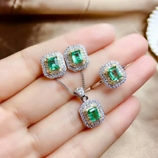 "Colombian Emerald & Diamond Jewelry Set 18""Chain In 14k White & Yellow Gold Over"