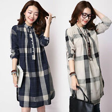 Women Check Plaid Cotton Linen Shirt Dress Button Loose Long Sleeve Vintage Chic