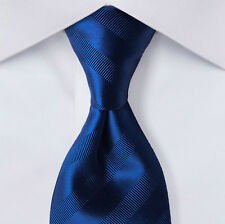 "New Lustrous Blue BRIONI Striped Tie $230 Jacquard Woven Silk 58"" x 3-1/8in."