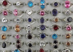 45pcs Wholesale Mixed Lots Cubic Zirconia Filled Rhinestone Jewelry Lady's Rings