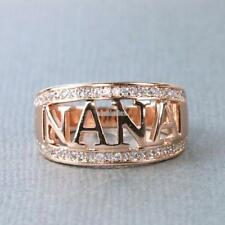 Rose Gold 925 Silver Filled Nana Rings Zircon Rhinestone Grandma Ring Jewelry T