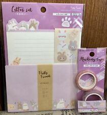 NEW Kawaii Cute Rabbit 🐇 Bunny 🐰 Writing Letter & Envelope& Washi Set DAISO