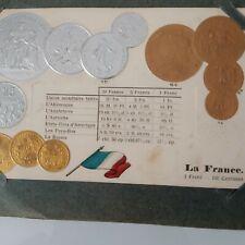 Ancien Album LES MONNAIES DU MONDE 46 CPA monnaies Pays complet Blumel 1914 rare