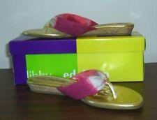 NWT Libby Edelman MORIAH Pink Berry Tie Dye Thong Flip Flop Wedge Sandals 8