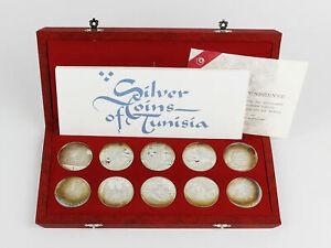 1969 Silver Coins of Tunisia 1 Dinar Sterling Silver 10 Coin Set Original Box