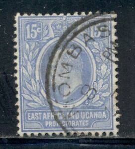 EAST AFRICA & UGANDA 36 SG39 Used 1907-08 15c KEVII Wmk Mult Crown CA Cat$11