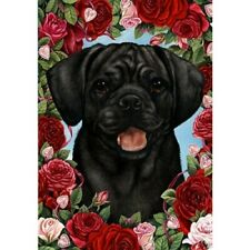 Roses House Flag - Black Puggle 19280