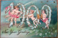 1909 Embossed New Year Postcard: Date/Year & Children, Stars