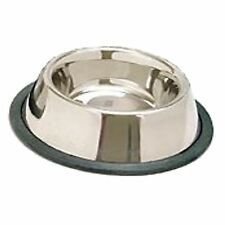 STAINLESS STEEL Non Skid Pet Dog Puppy Cat No Tip Bowl Dish with Rubber Ring