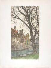 Roger HEBBELINCK Etching sign/Num Bruges : Les grands arbres du Béguinage 1988