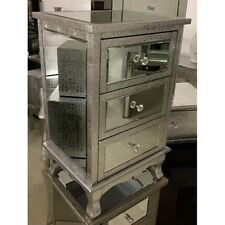 Pair Of Silver Metal Embossed Mirrored 3 Drawer Bedside Cabinets Tables