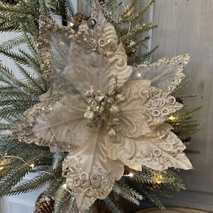 Cream Gold Fabric Poinsettia Pick Christmas Tree Decoration Gisela Graham
