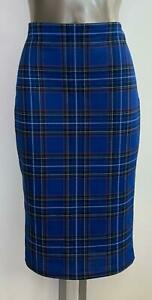 BLUE CHECK CASUAL PENCIL TUBE WIGGLE STRETCH KNEE SKIRT SIZE 8 - 18