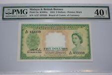 (PL) PMG SALES: 5 DOLLARS A/37 433339 QE 1953 MALAYA & BRITISH BORNEO PMG 40 NET