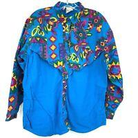 VTG Western Plains Trading Co L Blue Colorful Southwestern Button Down Vintage