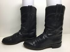 WOMENS JUSTIN WESTERN ROPER LEATHER MIDNIGHT BLUE BOOTS SIZE 6.5 B