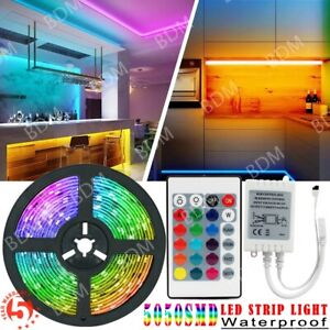 5M 16.4ft LED Strip Light SMD 5050 RGB Waterproof Lamp 24 Keys Remote Controller
