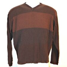 Chereskin Mens Pullover Knit Sweater Size L Long Sleeve Two-tone Brown w/ Piping